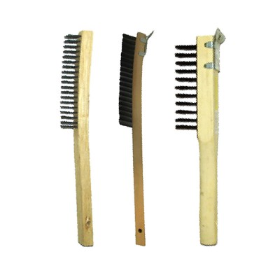 Long Curved Handle Wood Block Wire Brushes
